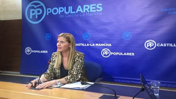 La diputada por el PP de Castilla-La Mncha, Carolina Agudo, en rueda de prensa