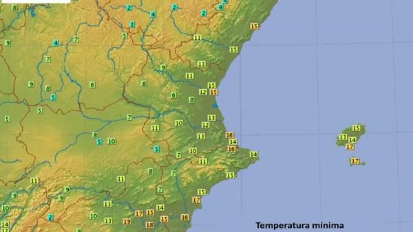 Temperaturas mínimas de este martes en la Comunitat Valenciana