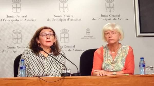 Concha Masa (IU) y Marta Mori (CCOO) en la Junta General