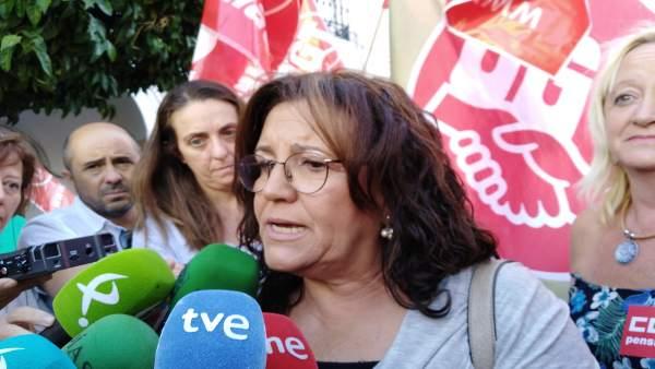 La secretaria general de UGT Extremadura, Patrocinio Sánchez