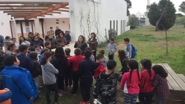 Escolares en el jardín Dunas del Odiel.