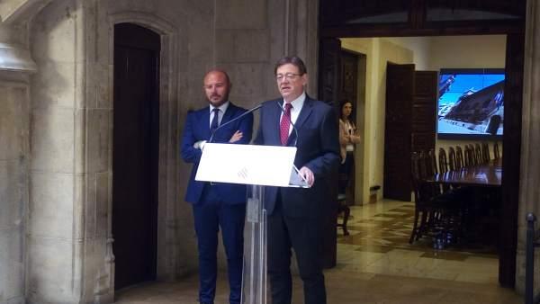Toni Gaspar y Ximo Puig tras la reunión mantenida en el Palau de la Generalitat