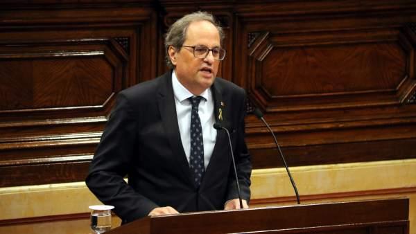 Quim Torra pide por sorpresa comparecer mañana en el Parlament por el caso del 'procés'