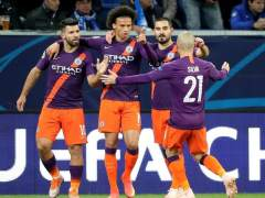 El Manchester City celebra un gol frente al Hoffenheim.