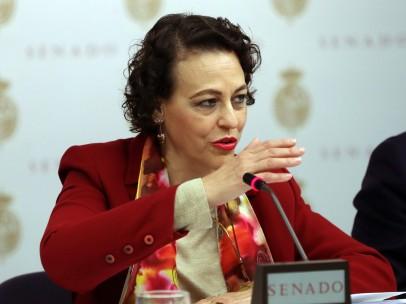 Magdalena Valerio durante su comparecencia en el Senado.