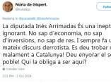Tweet de Nuria de Gispert