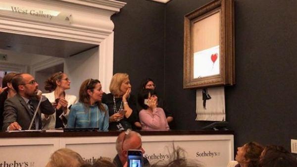 Obra de Banksy autodestruida