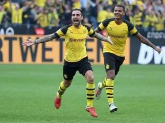 Paco Alcácer celebra un gol con el Borussia Dortmund.