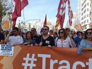 Soro en la manifestación de este domingo en Valencia.