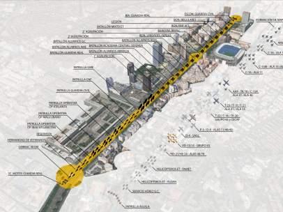 Recorrido del desfile militar del 12 de octubre en Madrid