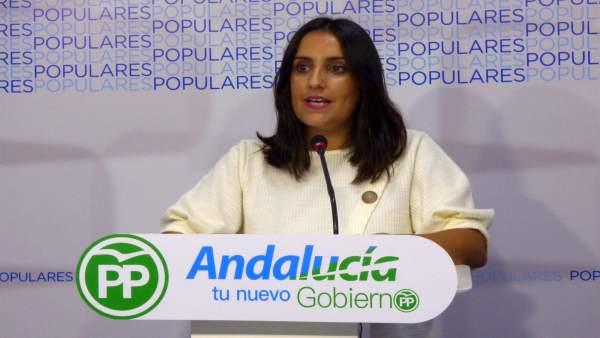 Beatriz Jurado en la sede del PP