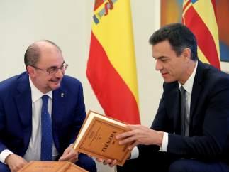 Reunión en La Moncloa entre Sánchez y Lambán