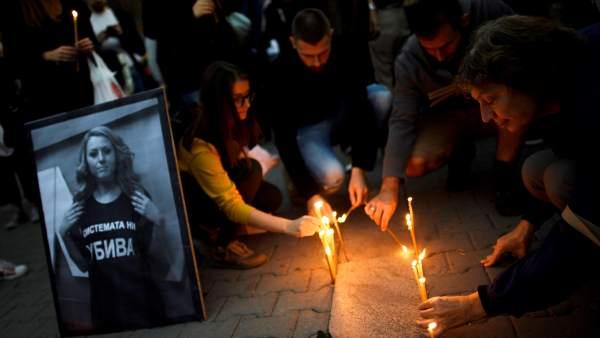 Vigilia por el asesinato de la periodista Victoria Marinova