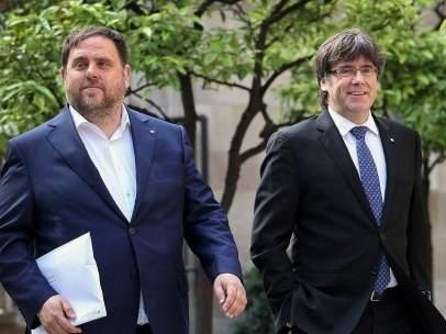 Oriol Junqueras y Carles Puigdemont (Archivo).