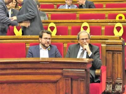 Vicepte. Pere Aragonès, pte. Quim Torra, en el pleno del Parlament