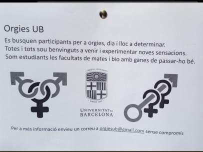 Uno de los carteles aparecidos en la Facultad de Matemáticas de la Universitat de Barcelona (UB) invitando a los alumnos a formar parte de orgías y que han sido retirados por el centro educativo.