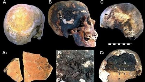 Imagen de las cabezas reventadas por la erupción de Vesubio