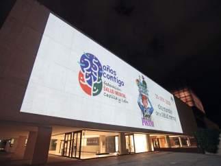 Proyección del Día de la Salud Mental en la fachada de Las Cortes. 10-10-18
