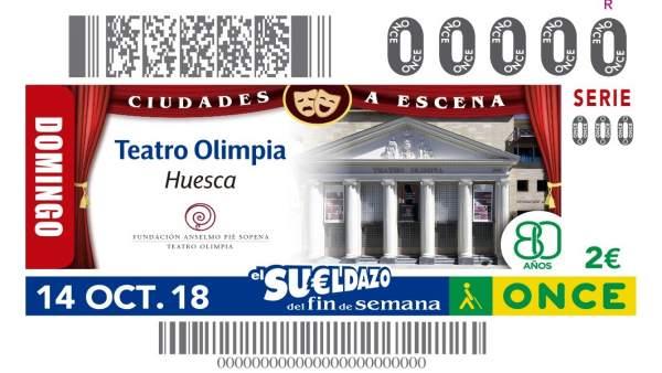 Cupón de la ONCE con el Teatro Olimpia de Huesca de protagonista