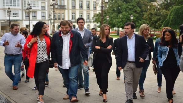 Alvaro Santos, Lara Méndez, Gonzalo Caballero y otros cargos del PSdeG en Lugo