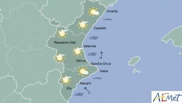 Predicción de Aemet para la Comunitat Valenciana del 12 de octubre de 2018