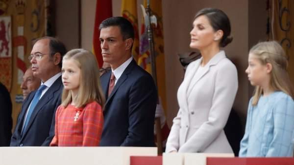 Abucheos al presidente del Gobierno, Pedro Sánchez, en el desfile del 12 de Octubre.