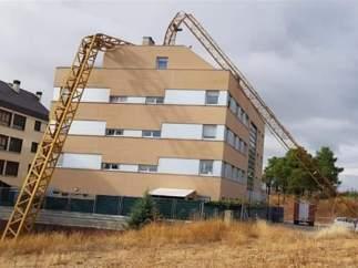 Grúa pluma desplomada en Soria