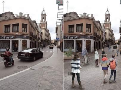 Imagen actual del eje de las calles Fulton y Horta (a la izquierda) y simulación de cómo quedará como 'superilla' tras convertirla en una plataforma única (derecha).