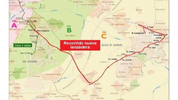 Recorrido del nuevo servicio de autobús lanzadera en Alcalá hacia la UPO