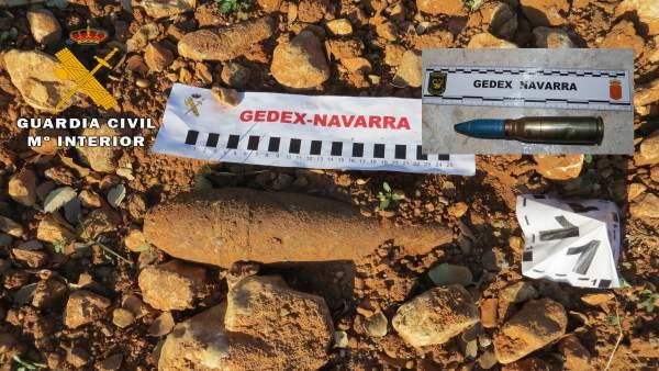 Granada de mortero destruida por la Guardia Civil de Navarra