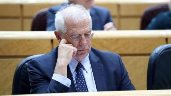 El ministro de Exteriores, Josep Borrell, en el Senado.