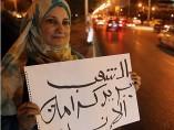Una mujer protesta en Egipto