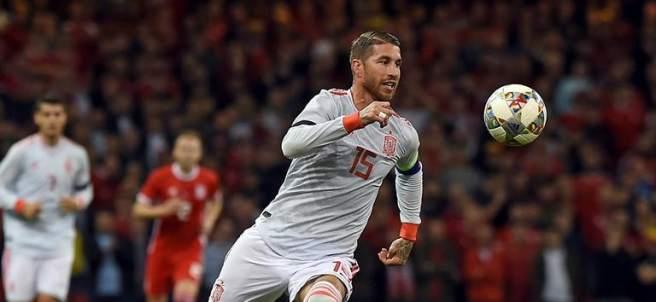Sergio Ramos, con la camiseta de España.