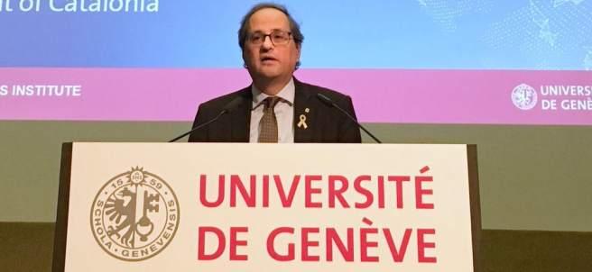 Conferencia del pte. Quim Torra en Ginebra (Suiza).