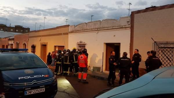 Derrumbe de vivienda en Almendralejo