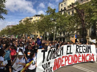 Manifestación de los CDR en Barcelona por el 1-O (archivo).