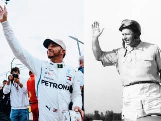 Lewis Hamilton y Juan Manuel Fangio