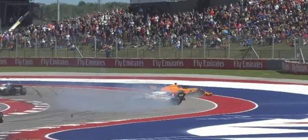 Alonso abandona en Austin por un golpe de Stroll
