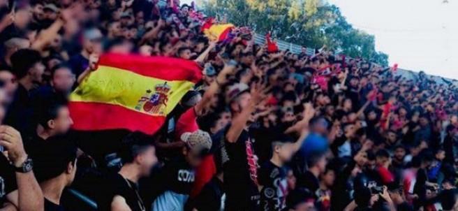 Bandera española en el estadio marroquí