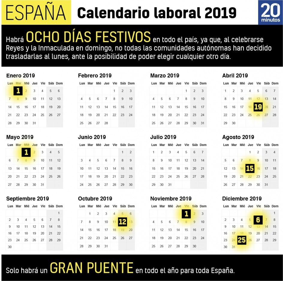 Calendario Laboral 2019 Andalucia.Calendario Laboral 2019 Puentes Y Semana Santa