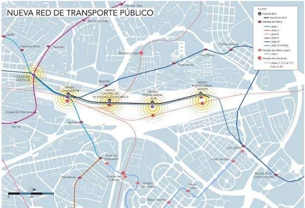Nueva red de transporte público en Madrid Nuevo Norte