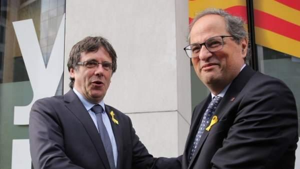 El expresidente Carles Puigdemont y el presidente Quim Torra en una imagen de archivo.
