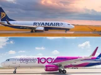 Aviones de Ryanair y Wizz Air