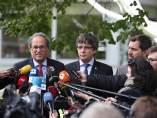 Quim Torra, Carles Puigdemont y Toni Comín (Archivo)