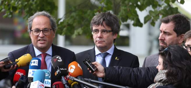Quim Torra, Carles Puigdemont y Toni Comín (Archivo)