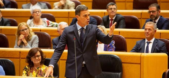Pedro Sánchez durante una sesión de control al Gobierno en el Senado