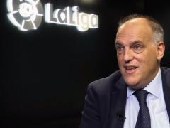 El presidente de LaLiga, Javier Tebas, en una entrevista para Goal