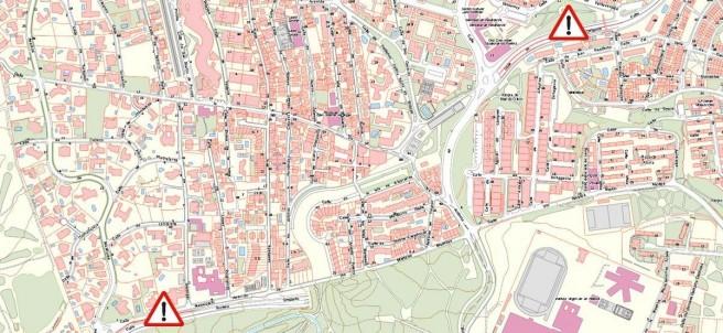 Mapa del corte al tráfico en el túnel de Sinesio delgado.