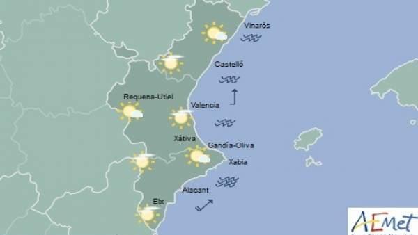 Predicción de Aemet para la Comunitat Valenciana del 4 de noviembre