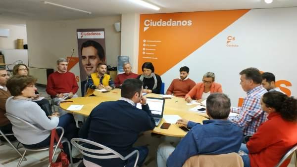 Fran Carrillo durante la reunión del comité electoral de Ciudadanos
